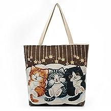 Canvas Tote Bag,Jian Ya Na Cute Cat Girls Zippered Light Shoulder Shopping Beach Bag Jacquard Casual Travel Handbag Satchel (Brown)