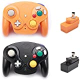 Poulep 2 Packs Classic 2.4G Wireless Controllers Gamepad with Receiver Adapter for Nintendo Wii U Gamecube NGC GC (Black and Orange)