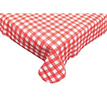 J & M Home Fashions 24-Piece Carton Round Vinyl Tablecloth, 60-Inch, Red Check
