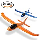 Package of 2 Aircraft Manual Game Fun Challenge Toy Outdoor Sports Model Foam Airplane Best Gift for Children (Blue and Orange)