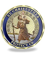 FunYan Patron Saint of Travelers Prayer Commemorative Coin St Christopher Challenge Coin for Man