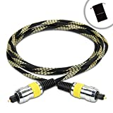 DATASTREAM Digital Audio Optical TOSLink Cable (6') w/ High Fidelity Audio Transfer & Nylon Braided Cable - Works with LGBP620 , Panasonic DMP-BD55K , Samsung BD-J5700 & More Blu-Ray Disc Players