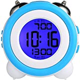 Digital Alarm Clock Dual Alarm Clock Loud Alarm Clock Twin Bell Kids Small Clock Large Display With Snooze And Night Light Battery Operated Easy to Set for Heavy Sleepers Bedrooms Desk Travel (B&W-clock)