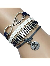 Infinity Football Cowboys Bracelet- Handmade Leather Braided Fans Gift