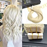 "Sunny 16"" Tape in Hair Extensions Platinum Blonde #60 20pcs 50G Remy Human Hair Extensions Blonde"