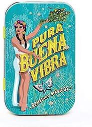 Pura Buena Vibra - Pastillero Remedios Mágicos de Hojalata con Dulce del Poder Buena Vibra Sabor Piña 50 g.