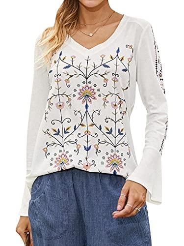 Polyester Blend Women Vintage Floral Print V-Neck Long Bell Sleeve Casual Blouse Tops White