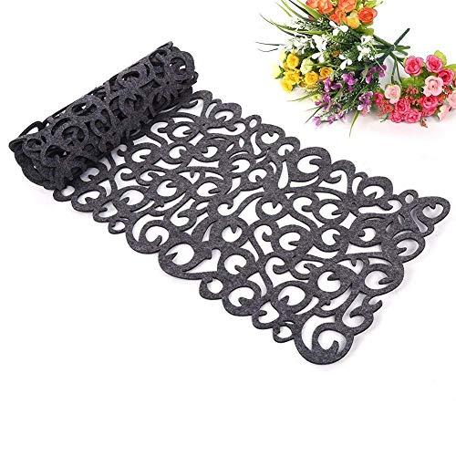 Camino de mesa, la flor hueco Tischband Mantel almohadilla de fondos de pantalla Coaster Decorar su habitacion lavables, 100 x30cm (gris oscuro)