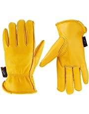 KIM YUAN Leather Work Gloves for Gardening/Cutting/Construction/Farm/Motorcycle, Men & Women, with Elastic Wrist