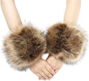 La Carrie Women's Snakeskin Print Faux Fur Wrist Cuffs,Winter Fox Furry Bands Arm Wa