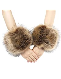La Carrie Women's Snakeskin Print Faux Fur Wrist Cuffs,Winter Fox Furry Bands Arm Warmer
