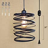 Kiven Plug-In American loft industrial style Pendant lighting E26 base dimmable lamp 15 Foot black Cord with Dimmer Switch bulb not included ul listed (TB0235)