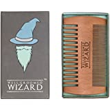Well Groomed Wizard Wooden Beard Comb, Double Sided Pocket Beard Grooming Comb for Men