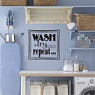 WASH DRY FOLD REPEAT... LAUNDRY ROOM VINYL WALL DECAL HOME DECOR WALL LETTERS WORDS 13 X13