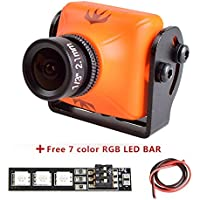 Weyland RunCam Swift 2 600TVL FPV Camera Mini 2.1mm for Racing Drone FPV Drones 165 Degree 5-36V for Multicopter Orange Swift2 with 1 PCS RGB LED BAR