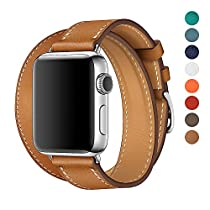 WAfeel Watch Band for Apple Watch Band 38/42mm Leather Double Tour Replacement Band with Metal Clasp for Iwatch Series3/2 1