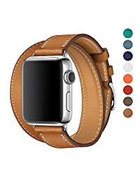 Apple Watch Band 38/42mm Leather Double Tour Replacement Band with Metal Clasp for Iwatch Series3/2 1