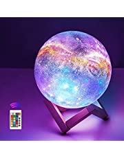 OxyLED Moon Lamp, 16 Colors 5.9 Inch 3D Print LED Galaxy Moon Light Dimmable with Stand Remote Touch Tap Control and USB Rechargeable, Night Lights for Kids Lover Friends Birthday Gifts