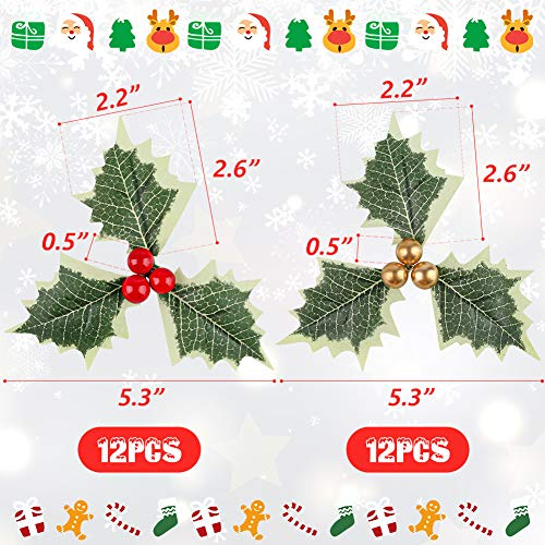 BigOtters Artificial Holly Berries with Green Leaves, 24PCS Gold and Red Holly Berry Flower with Leaves for Christmas Wreath Arrangement Cake Toppers Craft Wedding Party Home Gift Decorations