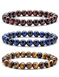 Hamoery Men Women 8mm Natural Stone Beads Bracelet Elastic Yoga Agate Bracelet Bangle
