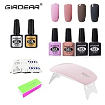 Girdear Soak Off Gel Nail Polish Kit, with SUNMini LED Lamp, 10pcs Removers & 10 Pcs Cleanser Wraps, Buffer Files, and Base Top Coat Set 4 Colors Nail Art Gift DIY Set #C022
