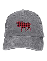 DeReneletrc Unisex Buffalo Plaid Moose Low Profile Plain Baseball Cap Vintage Washed Adjustable Dad Hat Outdoor Hat