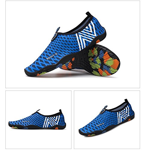 Humasol Men Women's Lightweight Quick-Dry Aqua Shoes Multifunctional Water Socks for Swim Beach Pool B073WTMVPX US Women:12-13.5/ Men:10.5-12 (EU 43-44) NCheck-Dark blue