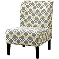 HOMES: Inside + Out IDF-AC6507Y Logan Armless Living Room Chair, Yellow/Gray