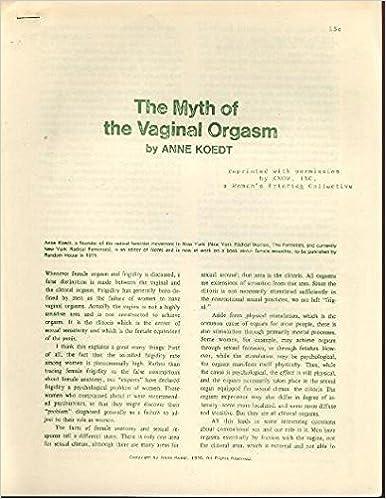 Anne koedt the myth of the vaginal orgasm