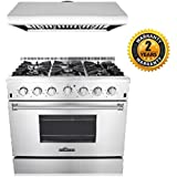 Thor Kitchen 2-Piece Kitchen Package with 36 Pro Style 6 Burner Stainless Steel Gas Range, and 36 Under Cabinet Range Hood Stainless Steel