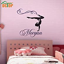 2016 NEW Customized Name Famale Gymnastics Dance Silhouette Wall Decals Sticker Decor Vinyl Waterproof For Nursery