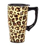 Spoontiques estampado de leopardo taza de viaje, Amarillo