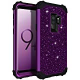 Galaxy S9 Plus Case, Lontect Luxury Glitter Sparkle Bling Heavy Duty Hybrid Sturdy Armor Defender High Impact Shockproof Protective Cover Case for Samsung Galaxy S9 Plus - Shiny Purple/Black