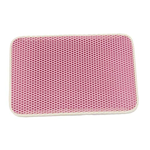Pink 11665 Pink 11665 LZRZBH Large Cat Litter Trapper Mat, Double Waterproof Layer for Litter Box Mat,Foldable Cat Feeding Mat Durable Waterproof EVA Litter Box (color   Pink, Size   116  65)