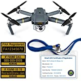 FAA Drone Labels (2 sets of 3) + FAA UAS Registration ID Card for COMMERCIAL pilots + Lanyard and ID Card holder