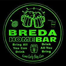 4x ccq05267-g BREDA Family Name Home Bar Pub Beer Club Gift 3D Engraved Coasters