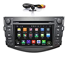 Quad Core Android 5.1 Car Stereo Radio Head Unit GPS Navigation DVD Player for TOYOTA RAV4 2008-2012 support Airplay Screen Mirroring/Steering Wheel Control/Bluetooth/3G Wifi/OBD2/DVR/AV-IN/Free Rearview Camera