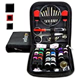 SEWING KIT for Sewing Repairs at Home & in the Office. Portable & Complete Mini Sew Kit for Travel Trips Filled with Mending Supplies and Accessories. Beginner DIY Kit for Little Sewing Emergencies, Black
