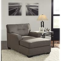 Tibbee Contemporary Slate Color Fabric Chaise