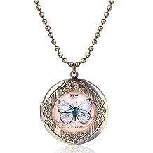 Mrsrui - Collar con medalla de mariposa, fondo rosado, tono bronce, regalo para mujeres y niñas