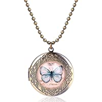 Mrsrui Pink Butterfly Photo Locket Necklace Bronze Tone Gift For Women Girl Kids
