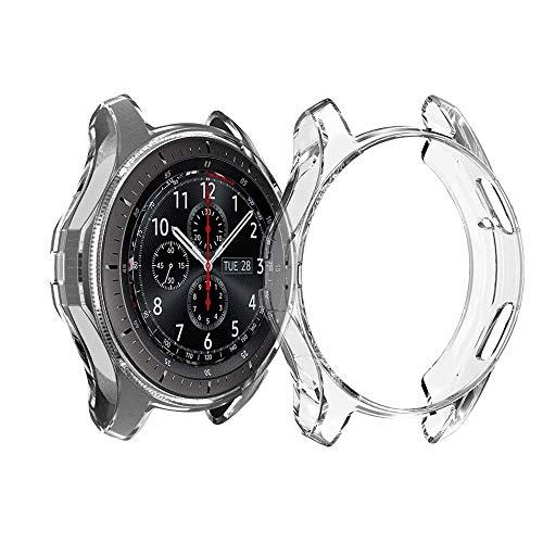 Haotop Soft Slim Full-Around Protective Cover Case Compatible for Samsung Galaxy Watch 42mm 46mm(Watch Not Included) (46mm, Clear)