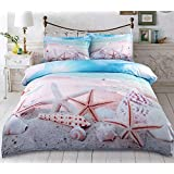 Classic Bedding Sets 3D Starfish on the Beach Printed Cotton 4-Piece Duvet Cover with Flat Sheet 2 Pillow Shams (Queen)