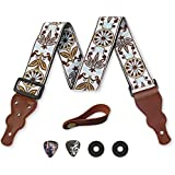 Guitar Strap Vintage Woven W/FREE BONUS- 2 Picks + Strap Locks + Strap Button. For Bass, Electric & Acoustic Guitars. The Best Guitarist Gift By Art Tribute Life Time Warranty