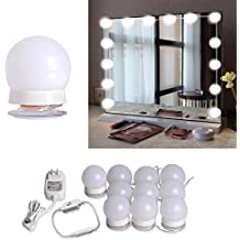 Hollywood Style LED Vanity Mirror Lights Kit with 10 Dimmable LED Light Bulbs and Flexible Strip for Makeup Mirror in Bedroom Dressing Room & Bathroom , White