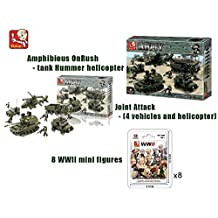 Bundle -Sluban Land Forces II Amphibious OnRush - tank Hummer helicopter B0309, Joint Attack - (4 vehicles and helicopter) and 8 x WWII mini figure B0580.(Brand New in Original English Box) LEGO Toy