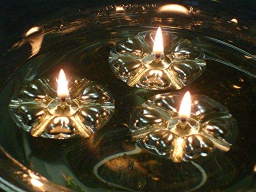 Aromaglow magico de Agua flotante velas, 50 reutilizable plateado flotadores y 50 larga duracion alimentados con la piel y ayuda a de aceite vegetal. Centro de mesa para boda