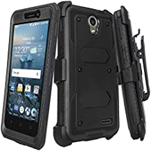 ZTE Overture 3 Case, ZTE Prelude Plus Heavy Duty Belt Clip Holster, Full Body Coverage with Built In Screen Protector / Rugged Dual Layer Protection,Black