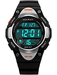 Boys Digital Sport Watch,Black LED Waterproof Wrist Watches with Alarm for Kids Boys,Children Gift