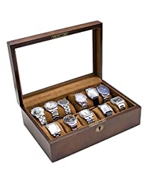 Vintage Wood Watch Display Storage Case Chest With Glass Top Holds 10+ Watches With Adjustable Soft Pillows and High Clearance for Larger Watches